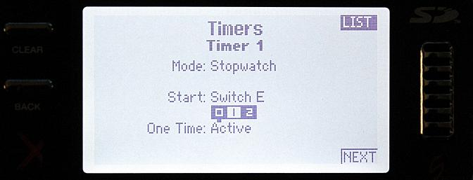 On this screen I can program the first of two timers for countdown or stopwatch functions.