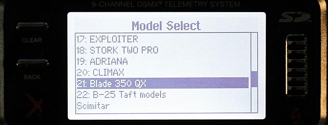 From this screen I highlight and select the model I want to fly or program or if I want to add a new aircraft.