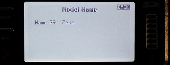 After I select the aircraft type I name my model. There are up to twenty character spaces to use for the name.
