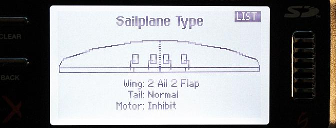 For an airplane or in this case a sailplane I select the wing type that matches my model. More on this below.