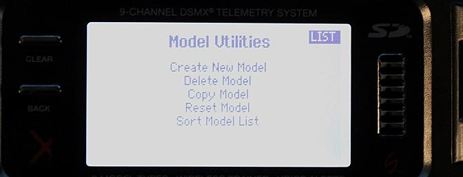 To get to the Sort Model List start with the Model Utilities screen.