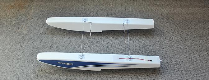 The assembled floats ready for the rudder to be installed on the left float.