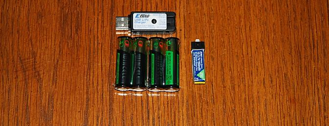 Four AA batteries for the transmitter, the USB charger and the flight battery were included.