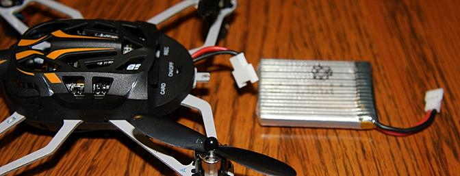 The battery for the Proto X can easily be removed and replaced. However it charges while connected to the Proto X FPV.