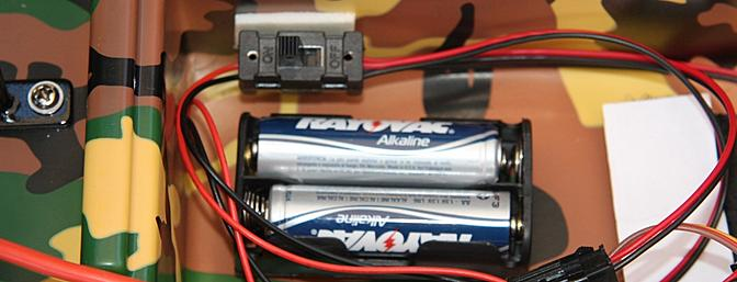 Two AA batteries were installed into the AA battery box to power the 12-LEDs.