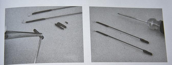 Pictures in the manual concerning the assembly of the clevises and the control rods.
