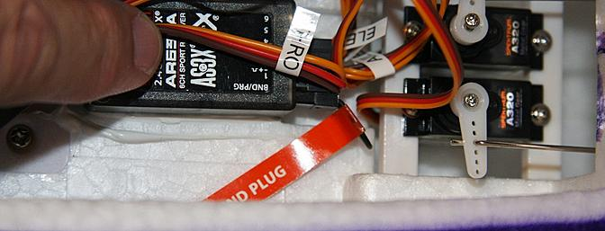 The binding plug installed to bind the Rare Bear to my Spektrum DX9.