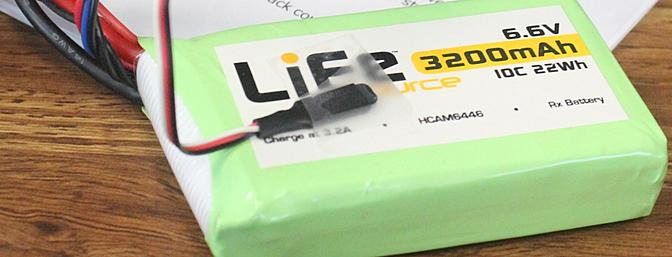 My 2-cell 6.6V (7.2V fully charged) LiFe battery with an included temperature sensor on it.
