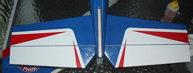 The installed horizontal stabilizer as viewed from above and behind in proper position.