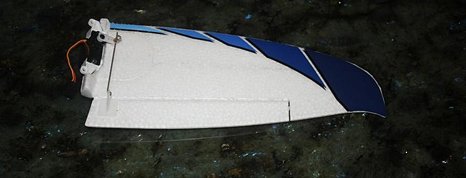 One half of the V-tail with its decal installed.