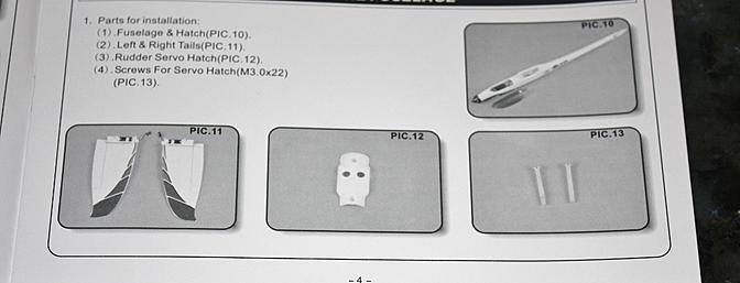The parts used for this part of the assembly as shown in the instruction manual.