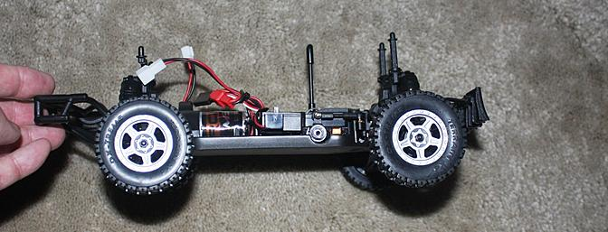 Side view of the truck chassis.