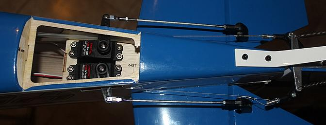 The elevator servos mounted and using long Dubro connectors.
