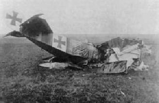 Ace Heinrich Gontermann's Dr-1 lost its top wing in a dive on his first test flight over his own airfield.