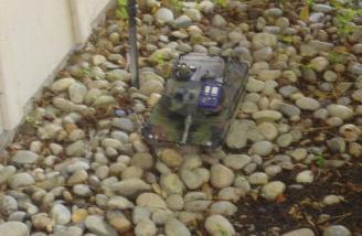 Tank with camera patrolling.