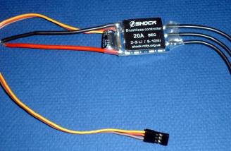 The Shock-20A ESC for brushless motors, no connectors supplied.