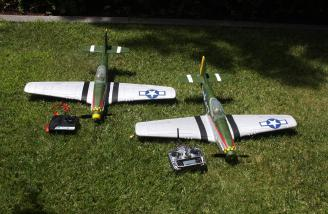 The RTF Mustang on the left with the ZX-10 transmitter and the BNF version on the right with my Spektrum DX7 transmitter