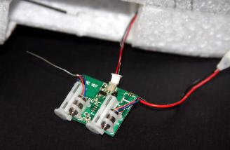 Here, the motor connector and the ESC have been connected with the wires in the previous picture and joined with a drop of hot glue.