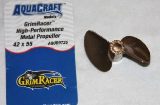 The two blade AquaCraft 42 x 55 optional metal propeller.