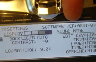 The TX Settings screen confirmed I had the new Firmware installed via the number I am pointing to on the screen.