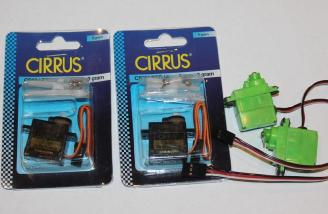 2 Cirrus servos from Hobby People and 2 used servos recycled