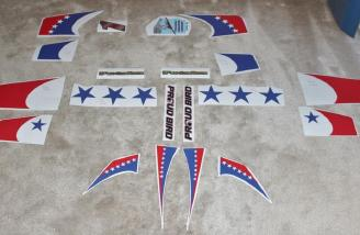 The supplied decals laid out ready to install on my plane.