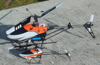 The Larger Heli-Max 200 next the Heli-Max Axe 100 FP.