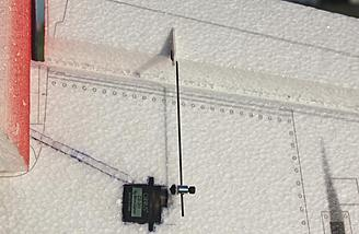 Here you can see the installed servo and servo wire as well as the servo control horn and the installed control rod.