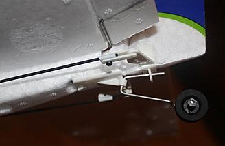 A close-up view of the tail wheel. It came installed on the stabilizer.