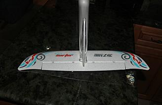 A rear view of the tail with the decals installed.