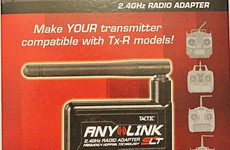 The AnyLink adapter that allows many transmitters to control the 1SQ V-Cam Quadcopter when using the correct connecting cord with the AnyLink.