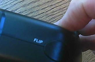 Here is a close up of the flip button. (These pictures taken with the 1SQ V-Cam.)