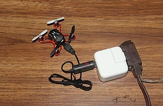 Charging my Proto X using the charger for my Droid cell-phone.