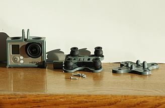 Here are the camera mount parts along with the GoPro camera that was purchased separately.