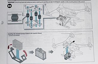 The instructions for the camera mount assembly are in picture form.