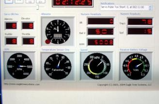 This picture is a readout from the RPM and voltage bench tests with the FDR.