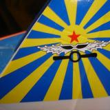 A close up of the art work on the fins.