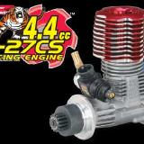 4.4 CC G-27GS racing engine supplies 2.4 horsepower. It starts with supplied hand held Quick-Pit or optional starter box.