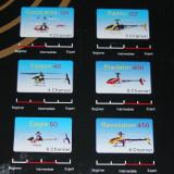 Close-up of pictures of six Exceed helicopters on the box, but not one of the Blue Ray 450 PE