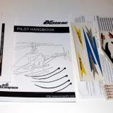 The pilot manual, lipo warning sheet, decals, info sheet and tie downs.