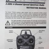 This is the first page of the 20 page transmitter instruction manual downloaded from the Super Cub website.