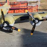 The left wing with the supplied three blade propellers mounted onto the motors.