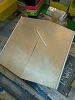 Name: june28 Hardtop bottom.jpg Views: 11 Size: 4.36 MB Description: Underside of hardtop. lines are the where the roof beams are.  I lightly coated both sides with epoxy before joining top to cabin