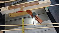 Feather boards to hold 3.5mm strips in place to rip them down to width - 10mm.