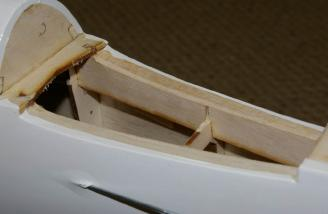 The horizontal tail assembly fits nicely into this recessed cavity.
