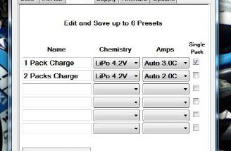 Up to a total of six Presets can be created and saved on the