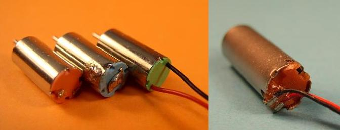 Connection methods left to right:  side-bell contact, center-bell contact, wire connections.  The picture on the right shows the distinctive connections for the surplus 6.1mm brown bell pager.
