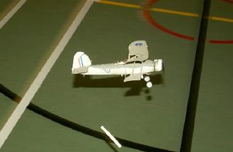 The torpedo just after release.  The model was lacking power by this time (multiple attempts) hence the low level flight.