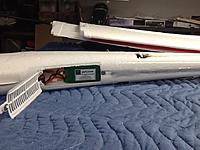 Name: image.jpg Views: 348 Size: 198.5 KB Description: Stock 1300 battery, rudder servo flush mounted in side of fuselage.