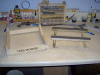 Name: Dodge 290.jpg Views: 215 Size: 67.2 KB Description: The kit supplied stand is on the right.  My homemade stand is on the left before getting varnished.